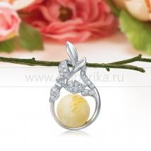 Кулон из серебра 925 пробы, украшенный лимонным балтийским янтарем