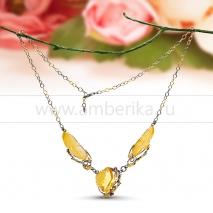 Колье из серебра, украшенное золотистым балтийским янтарем