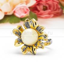 """Кольцо """"Подсолнух"""" из серебра 925 пробы с лимонным янтарем."""