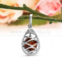 Кулон из серебра 925 пробы, украшенный коньячным янтарем