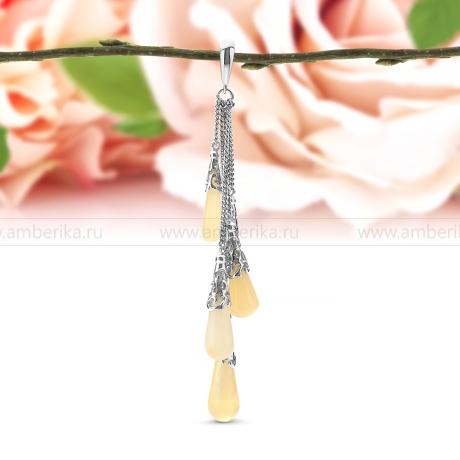Кулон из серебра 925 пробы, украшенный природным янтарем