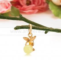 """Кулон """"Ангел"""" из серебра 925 пробы, украшенный лимонным янтарем"""