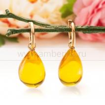 """Серьги """"Роскошь"""" из золота 585 пробы, украшенные природным янтарем"""