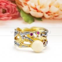 Кольцо из серебра 925 пробы с лимонным янтарем