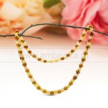 """Ожерелье из натурального балтийского янтаря цвета """"микс""""."""