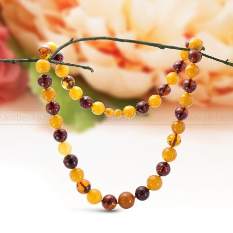 Ожерелье из балтийского природного янтаря цвета