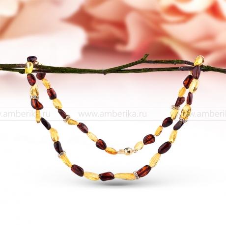 Ожерелье из балтийского природного янтаря со стразами