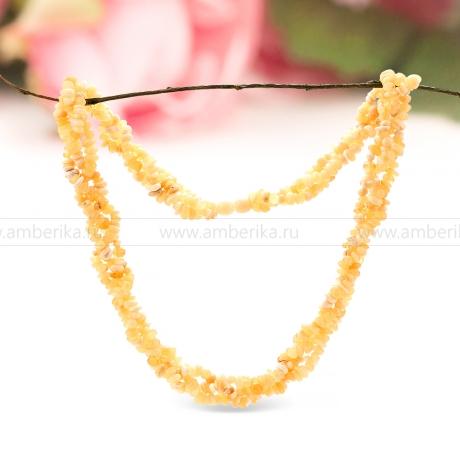 Ожерелье в 3 ряда из балтийского природного янтаря