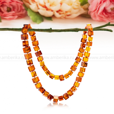 Ожерелье из коньячного балтийского природного янтаря