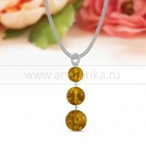 """Колье """"Сеточка"""" из серебра, украшенное золотистым природным янтарем"""