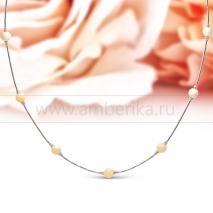 Цепочка из серебра 925 пробы, украшенная балтийским янтарем