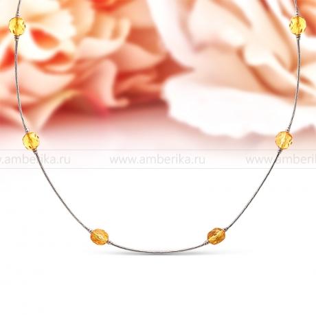 Цепочка из серебра 925 пробы, украшенная золотистым балтийским янтарем