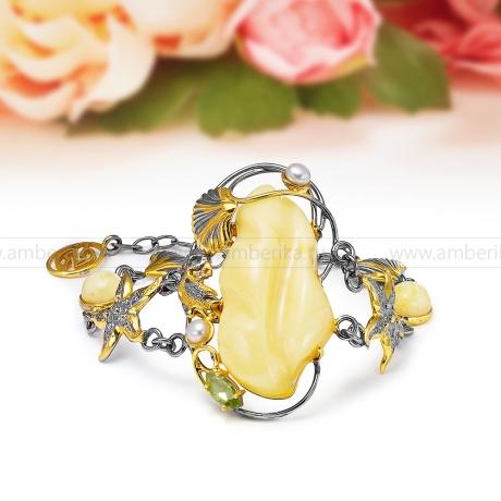 Браслет эксклюзивный из серебра 925 пробы с лимонным янтарем