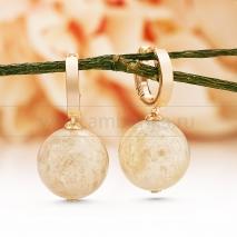 Серьги из серебра 925 пробы, украшенные  лимонным балтийским янтарем