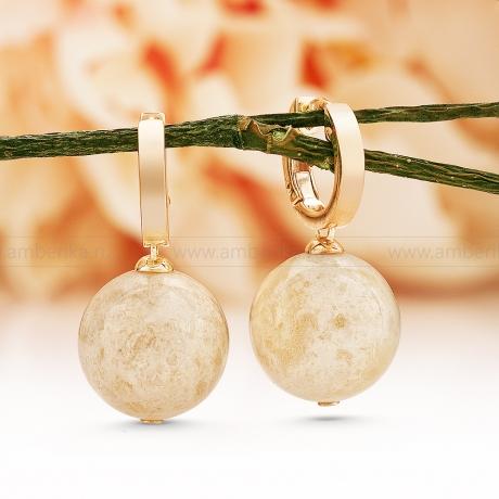 Серьги из серебра 925 пробы, украшенные  природным балтийским янтарем