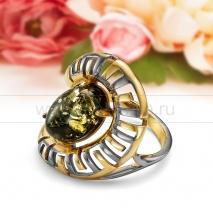 """Кольцо """"Муза"""" из серебра 925 пробы с природным янтарем."""