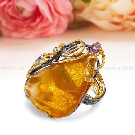 Кольцо из серебра 925 пробы с природным янтарем.