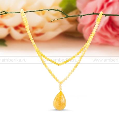 Ожерелье c кулоном из натурального балтийского янтаря