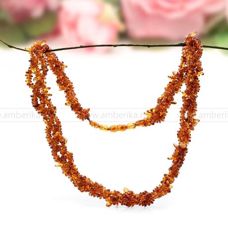 Ожерелье 3-рядное из натурального необработанного балтийского янтаря