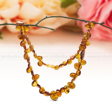Ожерелье из натурального коньячного балтийского янтаря