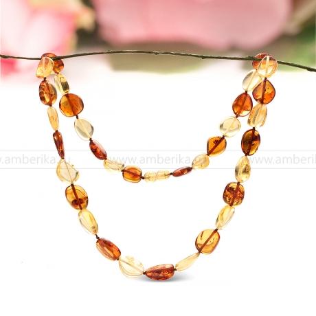 Ожерелье из натурального необработанного балтийского янтаря